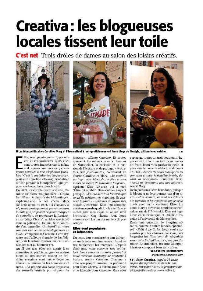 Le blog de La Pintade à Montpellier dans Midi Libre // 22.01.2016