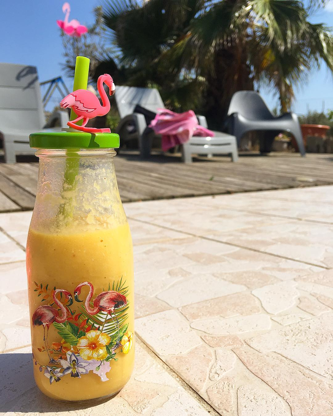 ... on va le prendre tranquille... SMOOTHIE Mango-Coco-Ananas ?? .  ____________ #smoothie #flamingo #montpellier #pintademontpellier #marseillan #marseillanplage #sunnyday #friends
